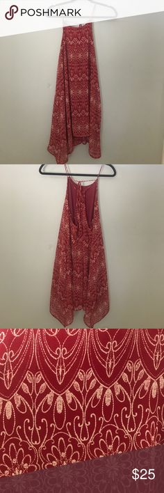 Tie Dress Tunic Very cute! Can be worn as a dress or a tunic with leggings. It is lined and I'm perfect condition. Only worn twice. Straps can be adjusted with tie. Maroon color Dresses Midi