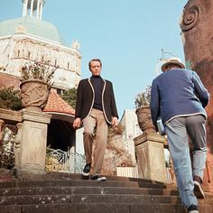 Credit: ITV/Rex Features Much of The Prisoner's atmosphere is derived from its setting in the surreal, sprawling Portmeiron resort village. Here McGoohan is pictured in the Checkmate episode, which centres around a giant chess game in which all the pieces are people