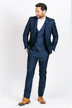 Click here to discover our collection of Men's 3 Piece Suits. Browse our vintage inspired designs in a variety of prints, colours & materials. Shop today! Classic Blue Suit, Classic Blues, Callum Blue, Blue Three Piece Suit, Mens 3 Piece Suits, Navy Groom, Childrens Shop, Crisp White Shirt, Suit Shop