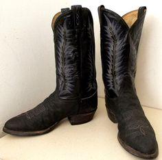 Vintage Tony Lama black cowboy boots