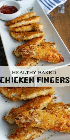 Healthy Baked Chicken Fingers are oven baked to create a healthier tender. The panko crust is crunchy and Healthy Baked Chicken Fingers are oven baked to create a healthier tender. The panko crust is crunchy and has good flavor from the spices. Chicken Slovaki Recipe, Chicken Finger Recipes, Paleo Chicken Recipes, Healthy Recipes, Recipes For Chicken Tenders, Chicken Tenderloin Recipes Healthy, Chicken Strip Recipes, Chicken Nugget Recipes Baked, Low Carb Chicken Dinners