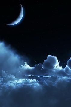 Clouds and Moon with a blue tone.