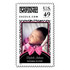 Chic Leopard Print Baby Photo Birth Announcement Postage Stamps! Make your own stamps more personal to celebrate the arrival of a new baby. Just add your photos and words to this great design.