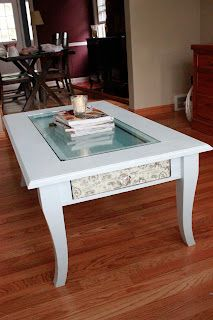 DIY Painted Coffee Table with contact paper applique~