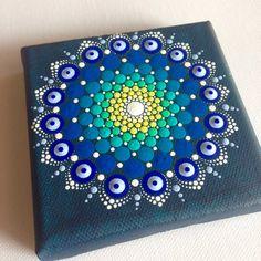 Original Dotart 10x10 Green Blue Mandala Painting on Canvas, Painting, Office…