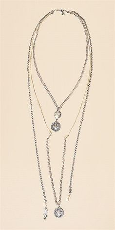 Multi Chain Necklace with Aqua Stones and PearlAll Jewelry and Accessories are Final Sale.