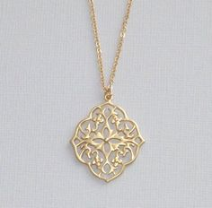 Gold Filigree Morrocan Flower Necklace on Etsy, $22.00