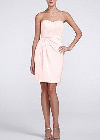 Sleek and very fashionable, this is the perfect dress for your bridal party! Strapless bodice features ultra feminine and chic sweetheart neckline. Pleated detail adds dimention and creates a flattering figure. Fully lined. Back zip. Imported polyester. Dry clean.This neckline is shaped like the top of a heart and is flattering to the decolletage.A popular neckline for brides seeking a stylish and versatile look (offering unlimited jewelry and accessory options).