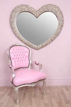 Large Heart Shaped Rose Mirror with Silver Floral Frame - Ginny | eBay