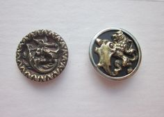 Fabulous Creature and Lion and Shield 1800's Metal Picture Buttons.  Reptilian Dragon and Bird Button.  Lion and Shield Button.  B339 by OneWomanRepurposed on Etsy
