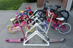Make a pvc bike rack to keep all the bikes organized this summer.