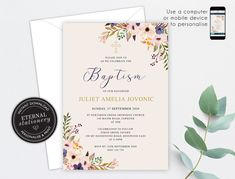 Editable Christening/Baptism Invitation, Baptism, Christening, Editable Template, Printable, Invitation, Baby Girl, Floral, Wreath, Juliet Christening Invitations, Photo Center, Tent Cards, Premium Fonts, Textured Background, Your Design, Stationery, How To Apply, Printable