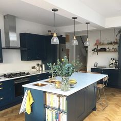 First time weve seen brass sinks actually installed in a kitchen - looks . Thanks for featuring our cup handles. We love to see our hardware installed in our customers homes Luxury Interior, Interior Styling, New Kitchen, Kitchen Decor, Us Cup, Dark Cabinets, Pink Walls, Country Life, Home Kitchens