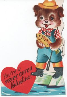 "1955 Used Valentine, puppy fishing, ""You're a PRIZE CATCH Valentine!"", good shape by VintageNEJunk on Etsy"