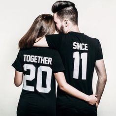 """Couple T-shirts set """"Together Since"""" set of 2 couple T-shirts custom couple shirts set of 2 couple shirts 100% cotton by FunnyWhiteTshirt on Etsy https://www.etsy.com/listing/252030058/couple-t-shirts-set-together-since-set"""