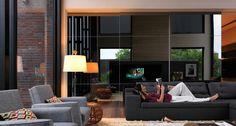 A Porta Deslizante Cadore agrega beleza a qualquer ambiente. Repare na simetria apresentada pelo desenho de duas travessas horizontais: equilíbrio estético e máxima elegância.