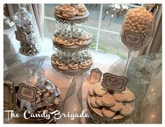 White & Silver Wedding Candy Table by The Candy Brigade  #candybuffet #dessertbuffet