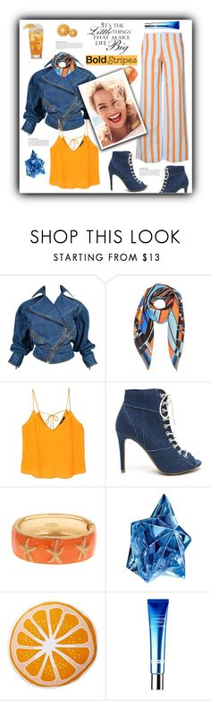"""""""Bold Stripes (3)..."""" by pomy22 ❤ liked on Polyvore featuring Alaïa, Emilio Pucci, MANGO, KAROLINA, WALL, Fornash, Thierry Mugler, Nordstrom Rack, denim and stripes"""