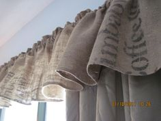 Valance made from coffee bean bags! Oh My, So Doing these in Kitchen Windows!