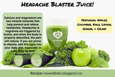 Do you get headaches or migraines? This juice might just be the answer. Many people experience headaches when they stress, get angry, sit poorly, eat poorly, or are exposed to environmental toxins like perfume and smog. Bright lights and grinding of the teeth are also a common trigger for headaches, as well as weather patterns (less often this than the others).