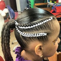 peinadoscolorin's Instagram photos | Pinsta.me - Explore All Instagram Onlinebraid Teenage Hairstyles, American Hairstyles, Little Girl Hairstyles, Kid Braid Styles, Hair Styles, Ribbon Hairstyle, Braids For Kids, Cornrows, Girl Fashion