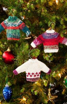 Noel Knit Sweater Ornaments  http://www.redheart.com/free-patterns/noel-knit-sweater-ornaments#