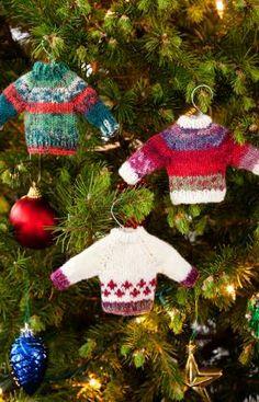 Noel Knit Sweater Ornaments  http://www.redheart.com/free-patterns/noel-knit-sweater-ornaments#