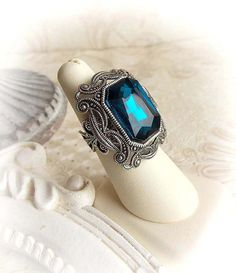 Ocean blue ring victorian gothic ring teal blue by MidnightVision