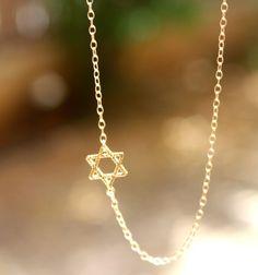 Star of David Necklace - Gold Sideways Jewish Star of David Necklace. jewish jewelry, magen david necklace.. $28.50, via Etsy.