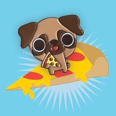 Pizza Pug Enamel Pin