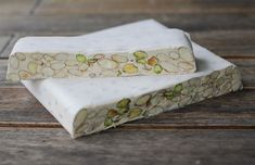 Sugarless Torrone: Three-ingredient Sardinian nougat with pistachios - no candy thermometer or fancy equipment required Italian Cookies, Italian Desserts, Italian Recipes, Italian Pastries, Candy Recipes, Sweet Recipes, Dessert Recipes, Homemade Candies, Homemade Gifts