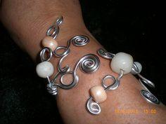 Bracelet mi - longargenté perles en fimo blanche & beige