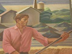Farmer - Texas Farm, Elgin Texas Post Office Mural detail by Julius Woeltz, 1940.
