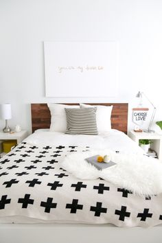 DIY // Ikea Hack Stikwood Headboard Love the blanket on the bed.