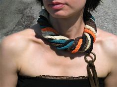 FABRIC Circle SCARF/NECKLACE with five colors by Charisana on Etsy