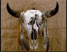 by dyke roskelley Native American Prayers, Native American History, Native American Indians, Native Americans, American Paint, American Indian Art, Painted Animal Skulls, Buffalo Skull, Deer Decor