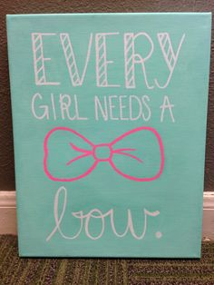DIY canvas, cute canvas, every girl needs a bow, big little canvas, sorority by luella Cute Canvas, Diy Canvas Art, Canvas Crafts, Diy Wall Art, Canvas Paintings, Canvas Ideas, Baby Room Diy, Baby Rooms, Diy Baby