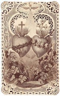 Catholic Art, Religious Art, Compass Tattoo, Graphic Design Illustration, Illustration Art, Sacred Heart Tattoos, Herz Tattoo, Vintage Holy Cards, Mary And Jesus