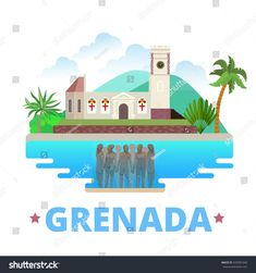 Grenada country design Flat cartoon style historic sight showplace web site vector illustration. World vacation travel North America collection. Molinere Underwater Sculpture Park St. George's church.