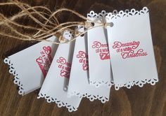 Handmade Christmas Gift Tags - Set of 12 with twine attached by ArtDenia on Etsy