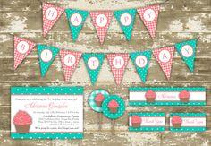 Print Your Own Girl's Birthday Cupcake Sweet by PolkaDotInvites, $28.21