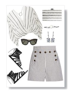 """""""Grey Striped"""" by freida-adams ❤ liked on Polyvore featuring Free People, Zimmermann, Edie Parker, Ancient Greek Sandals, Victoria Beckham, grey, striped and bellastreasure"""