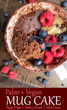 This easy chocolate mug cake recipe is paleo and vegan and super easy to make. It is made with green plantain flour, cocoa powder and can contain eggs or flax eggs; making it perfect for an easy Vegan breakfast. This healthy mug cake is moist, fluffy and healthy. #mugcake #chocolatemugcake #veganmugcake #paleomugcake Paleo Mug Cake, Vegan Mug Cakes, Mug Cake Healthy, Healthy Dessert Recipes, Delicious Desserts, Paleo Recipes, Free Recipes, Healthy Chocolate Mug Cake, Chocolate Recipes