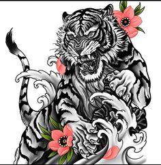 Dragon Tiger Tattoo, Tiger Tattoo Sleeve, Dragon Sleeve Tattoos, Best Sleeve Tattoos, Leg Tattoos, Tattoos For Guys, Dragon Tattoo Drawing, Tiger Forearm Tattoo, Dragon Tattoo Stencil