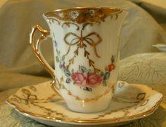 Antique Royal Crown Demitasse Cup & Saucer - Hand Painted - Japan