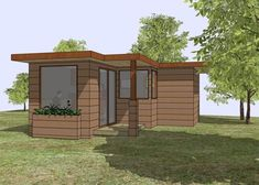 A small house inspired by Frank Lloyd Wright's Usonian houses. The basic L shaped house makes the best of its small space. The layout is open while still providing plenty of space for the kitchen, full bathroom, closet, and desk. Go here to download the file.