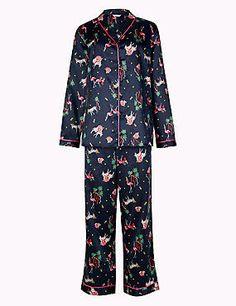 Schlafanzugset aus Satin mit langen Ärmeln und Safair-Aufdruck
