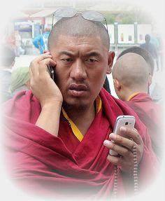 Busy monk Tibet