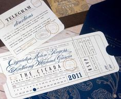 Ticket themed invites, Hole-punched month & day, CTA seal, perforated RSVP