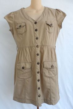 """Charlotte Russe Button Front Safari Khaki Dress Large. Belt Loops For The Dress But No Tie Belt Included. The Dress Does Have An Elastic Waist. Chest~41"""" Length From Back~33"""" Hips~19"""". 4 Button Front Pockets. 